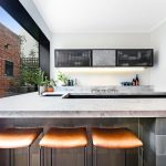Kitchen island bench and mosaic tiles South Yarra