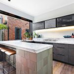 Kitchen island bench and mosaic tiles South-Yarra